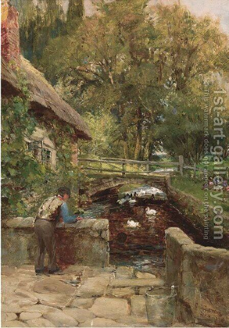 Feeding the ducks by Charles James Lewis - Reproduction Oil Painting