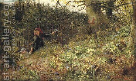 A Woodland Ramble 'When daisies pied and violets blue And Lady-smocks all silver white, and cuckoo buds of yellow hue' - William Shakespeare by Charles James Lewis - Reproduction Oil Painting
