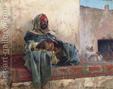 Playing the Derbakeh, Biskra by Charles James Theriat - Reproduction Oil Painting