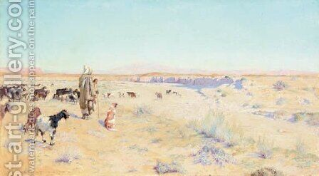 The goat herder, Biskra by Charles James Theriat - Reproduction Oil Painting