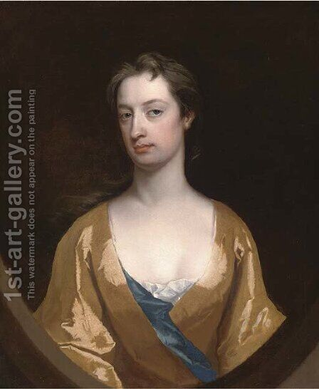 Portrait of Mrs Dunbar, half-length, in a yellow gown, feigned half oval by Charles Jervas - Reproduction Oil Painting