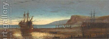 A hulk on a beach at dusk by Charles John de Lacy - Reproduction Oil Painting