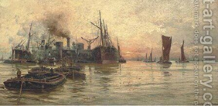 The bustling Thames at dusk by Charles John de Lacy - Reproduction Oil Painting