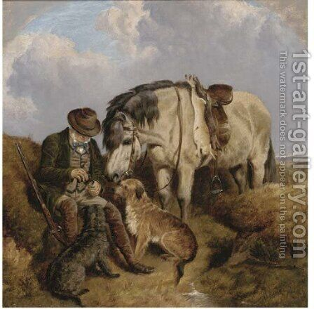 A tipple for the gamekeeper by Charles Jones - Reproduction Oil Painting
