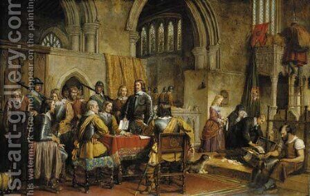 The Surrender of Arundel Castle to Sir William Waller, January 6th, 1643. by Charles Landseer - Reproduction Oil Painting