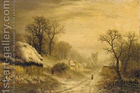 A village in Winter by Charles Leaver - Reproduction Oil Painting