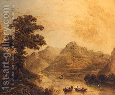 Anglers In Rowing Boats On A Lake In Cumberland by Charles Leaver - Reproduction Oil Painting