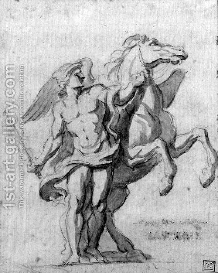 Mercury and Pegasus by Charles Le Brun - Reproduction Oil Painting
