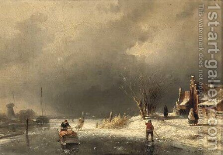 A cold day in winter by Charles Henri Leickert - Reproduction Oil Painting