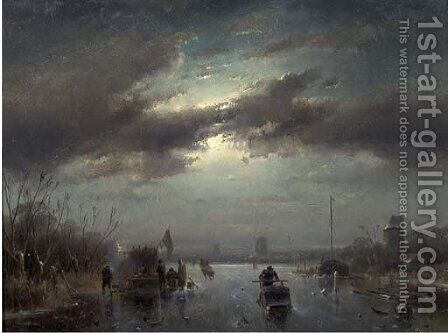 A moonlit landscape in winter with skaters by a koek-en-zopie by Charles Henri Leickert - Reproduction Oil Painting