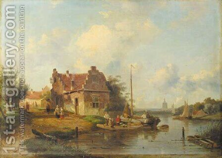A river landscape with a ferry, a town beyond by Charles Henri Leickert - Reproduction Oil Painting