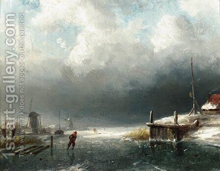 A skater on the ice, windmills in the distance by Charles Henri Leickert - Reproduction Oil Painting