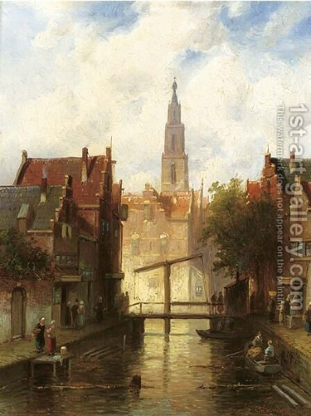 A view of a town with figures by a drawbridge by Charles Henri Leickert - Reproduction Oil Painting