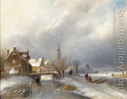 A winter's day with skaters on the ice by Charles Henri Leickert - Reproduction Oil Painting