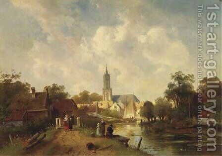 Along the river in summer, a town beyond by Charles Henri Leickert - Reproduction Oil Painting