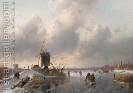 An extensive winter landscape at dusk with skaters on the ice and a koek and zopie in the distance by Charles Henri Leickert - Reproduction Oil Painting