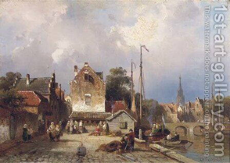 Daily activities on a quay in a Dutch town by Charles Henri Leickert - Reproduction Oil Painting