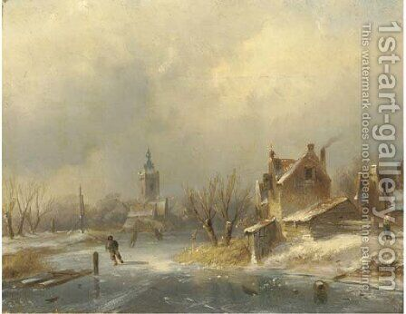 Figures on a frozen waterway by Charles Henri Leickert - Reproduction Oil Painting