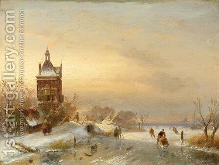 Figures on a frozen waterway 2 by Charles Henri Leickert - Reproduction Oil Painting