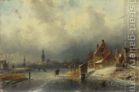 Figures on the ice by a Dutch town by Charles Henri Leickert - Reproduction Oil Painting