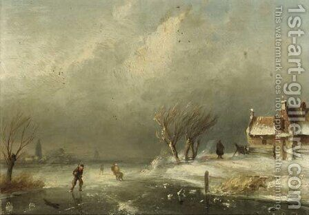 Figures skating on a frozen waterway on a windy day by Charles Henri Leickert - Reproduction Oil Painting