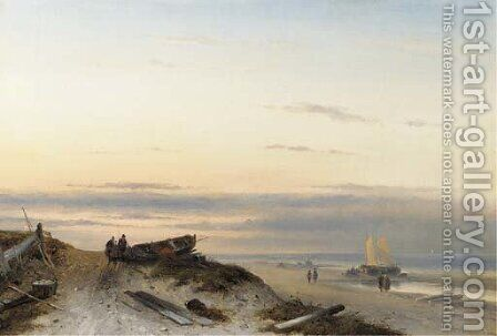 Fishermen on a beach at sunset by Charles Henri Leickert - Reproduction Oil Painting