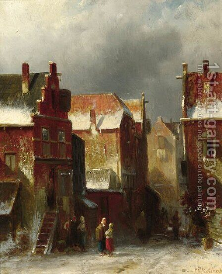 Numerous townsfolk in a street in winter by Charles Henri Leickert - Reproduction Oil Painting