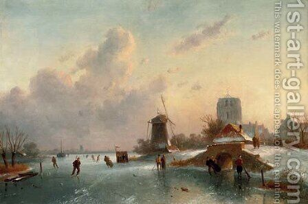 On the ice on a sunny day by Charles Henri Leickert - Reproduction Oil Painting