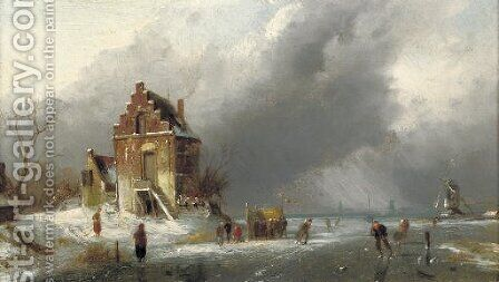 Skaters on a frozen Dutch waterway by Charles Henri Leickert - Reproduction Oil Painting