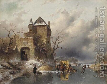 Skaters on a Frozen Lake by the Ruins of a Castle by Charles Henri Leickert - Reproduction Oil Painting