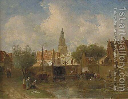 Summer in a Dutch town by Charles Henri Leickert - Reproduction Oil Painting