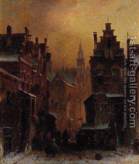The Jewish quarter in Amsterdam by Charles Henri Leickert - Reproduction Oil Painting