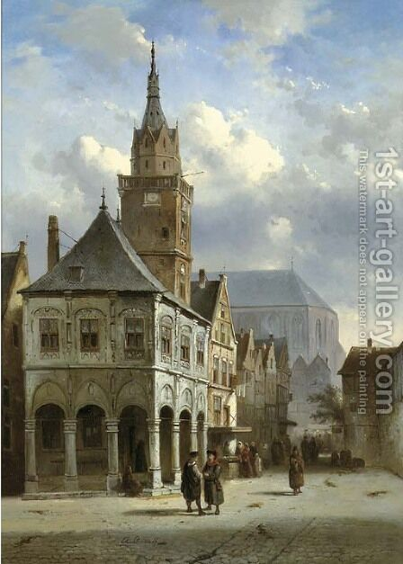The old townhall, Amsterdam by Charles Henri Leickert - Reproduction Oil Painting