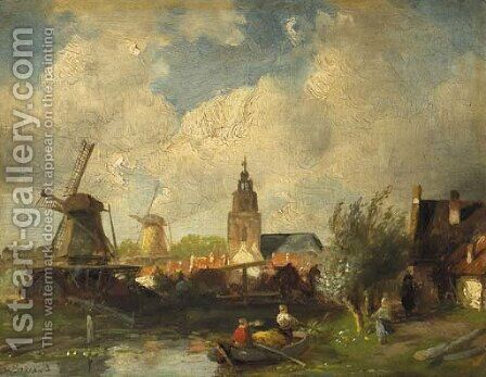 View of a town along a canal by Charles Henri Leickert - Reproduction Oil Painting