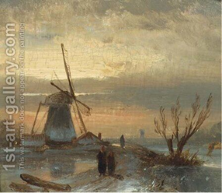Winter evening by Charles Henri Leickert - Reproduction Oil Painting