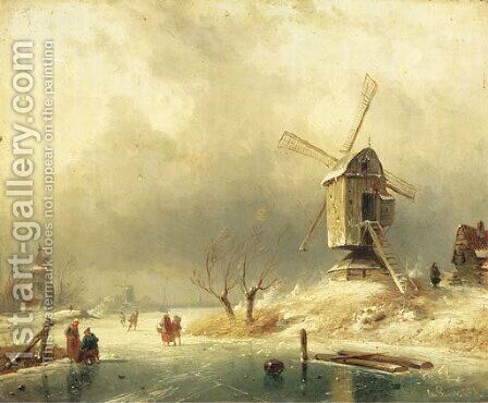 Winter figures on the ice by a windmill by Charles Henri Leickert - Reproduction Oil Painting
