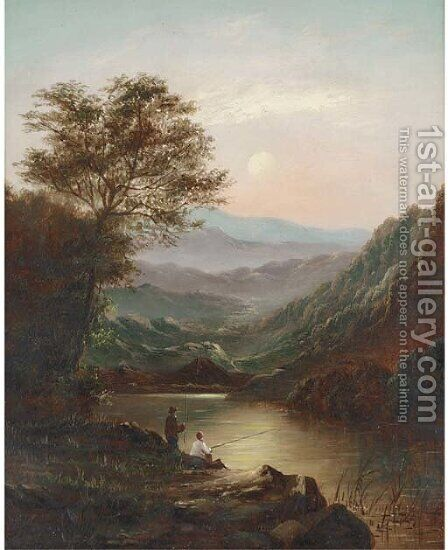 Anglers by a lake by Charles Leslie - Reproduction Oil Painting