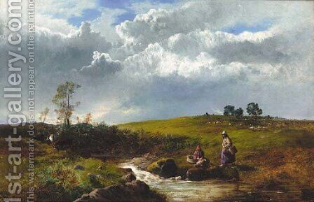 Girls resting by a stream by Charles Leslie - Reproduction Oil Painting