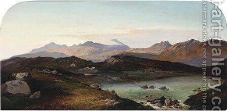The high Loch on Ben Ledi, Perthshire by Charles Leslie - Reproduction Oil Painting