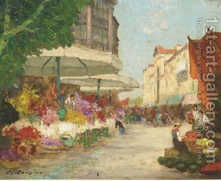 The flower market by Charles Cousins - Reproduction Oil Painting