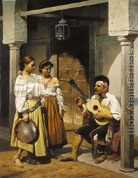 Andalucian musicians by Charles Louis Porion - Reproduction Oil Painting