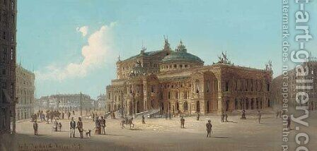 Une vue de l'Opera, Place de la Madeleine, Paris by Charles Marchand - Reproduction Oil Painting