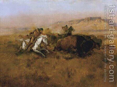 Buffalo Hunt No. 12 by Charles Marion Russell - Reproduction Oil Painting