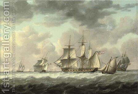 A frigate heaving-to in the Channel amidst other ships of her squadron, with an armed cutter, probably carrying despatches or fresh orders by Charles Martin Powell - Reproduction Oil Painting
