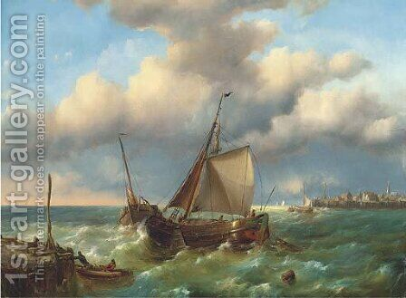 Barges in a stiff breeze at the harbour mouth by Charles Martin Powell - Reproduction Oil Painting