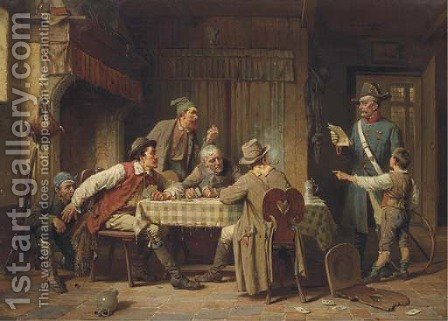 Der Wilddieb a poacher's arrest by Charles Meer Webb - Reproduction Oil Painting