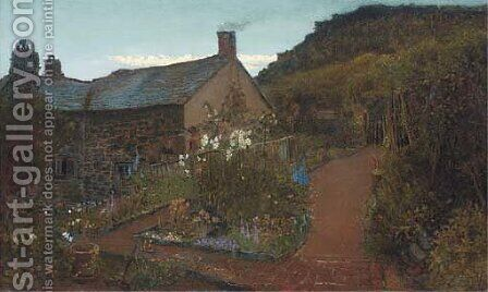 Cottage gardens - Twilight by Charles Napier Hemy - Reproduction Oil Painting