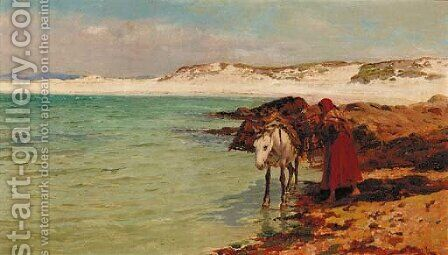 Gathering seaweed by Charles Napier Hemy - Reproduction Oil Painting