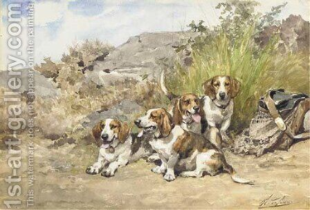 Hounds at Rest 2 by Charles Olivier De Penne - Reproduction Oil Painting
