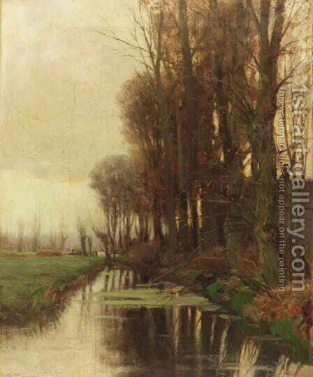 A view of a ditch in a polder landscape by Charles Paul Gruppe - Reproduction Oil Painting